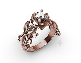 Ring Engagment Solitaire Ring Flower 3D print model