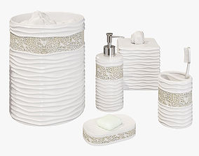 Wave Mosaic White Bath Accessories 3D model