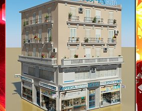 Photorealistic Low Poly Building 3D flat