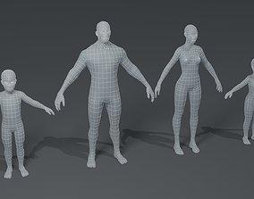 Human Body Base Mesh 3D Model Family Pack VR / AR ready