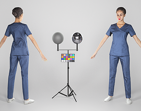 Young beautiful brunette in surgeon uniform in 3D asset 1
