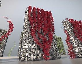 Wild Wine Vine - Autumn - on Gabion Wall - 3D model 1