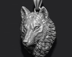 Wolf pendant silver 3D printable model