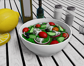 3D asset Salad With Feta Cheese