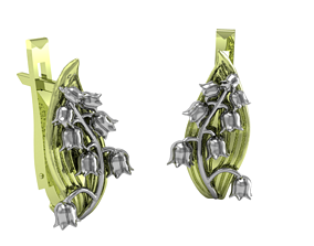 Lily of the valley earrings 3D print model