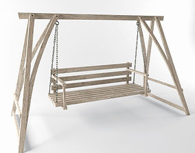 Multiple Seats Wooden Swing 1 3D model