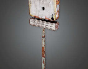 Post Apocalyptic Abandoned Sign 23 - PAS - PBR 3D model 1