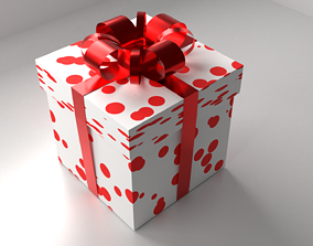 Polka Dot White Red Gift Box 8 with Ribbon 3D model