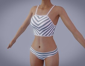 Sexy swimsuit with stripes 3D model