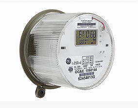 3D model oval Exterior electric meter for house