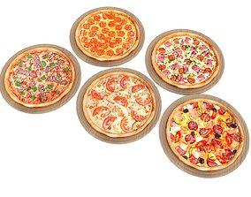 5 Pizza pack 3D asset