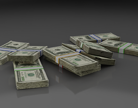 3D model Money Stack - Dropped - 100 Dollars - Coins -High