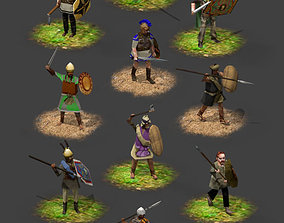 Lowpoly Iron Age warriors 3D model