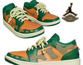 3D model DINO 2 Air Jordan 1 PUMPKIN LOW Shoes PBR