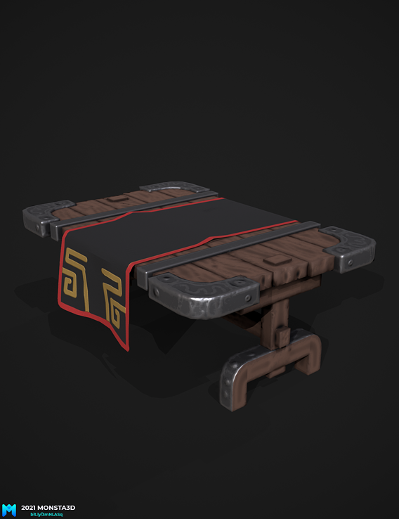 medival stylized pbr table game asset