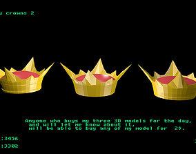 3D asset Low poly crowns 2