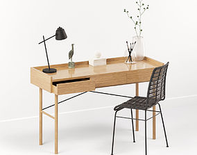 3D Oak desk workspace with rattan chair and decor