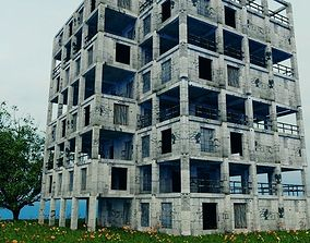 Post Apocalypse Old Building - Damaged 3D model
