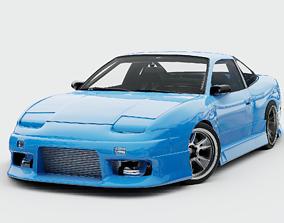 Blue S13 240SX Street Car Rigged 3D