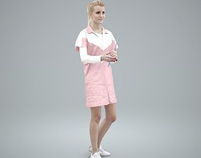 Standing Female Nurse Wearing Pink Uniform 3D