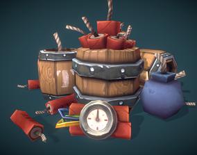 Explosives Barrels n Dynamite - Low Poly 3D model