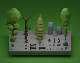 lowpoly 3D TREES AND STONES LOW POLY