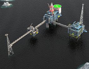Sleipner Vest offshore oil platform Cluster 3D model