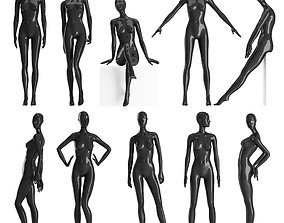 Set of female Mannequins 9 pozes 3D model