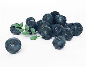 3D Cluster Of Fresh Blueberries