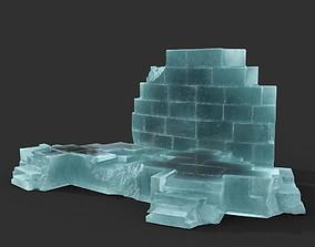 Low poly Ancient Roman Ruin Construction 07 - Ice 3D asset