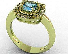Diamond and Topaz ring 3D print model white