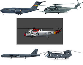 Set of 5 Military Aircrafts 3D model