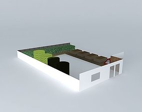 Simple garden design with raised beds 3D