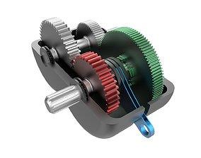 3D print model 2-speed gearbox
