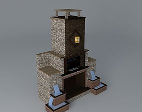3D Fireplace with a fountain