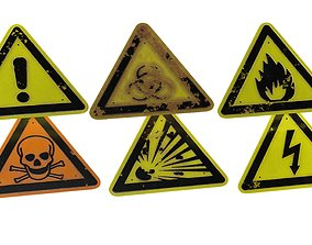 Sign Danger Package 3D asset