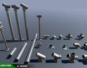 game-ready Lowpoly Modular Industrial Ceiling Pipe 3D