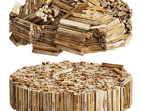 039 Firewood Logs 02 Round Stacks 3D