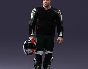 Biker in motorcycle gear and helmet 0086 3D model