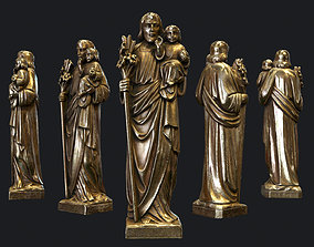 Jesus with a Baby Golden Statue Low-poly 3D Model realtime