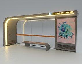 Cyberpunk Bus Shelter 3D model
