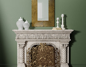 3D Caesar Mantel and Acanthus Fireplace Screen