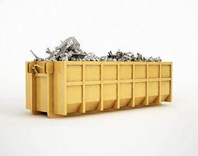 3D Yellow Industrial Dumpster
