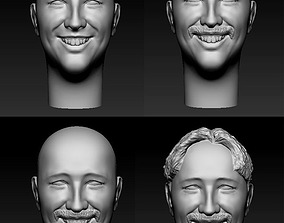 1 person 4 heads 3D printable model