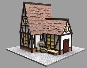 Medieval cartoon house 3D model game-ready