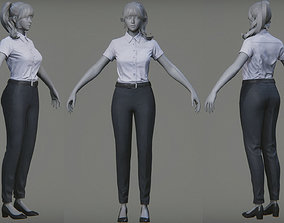 Female S Suit Game Assests Bussiness Suit Working 3D asset