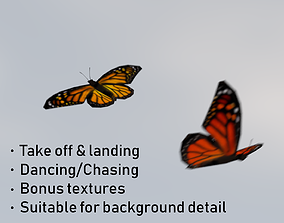 Background Butterflies Animated 3D model