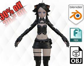 Beautiful Aria Anime girl character 3D asset shirai