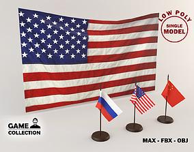 Flags Lowpoly 3D asset