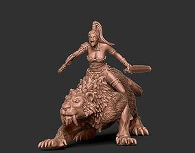 3D printable model Smilodon rider - 35mm scale